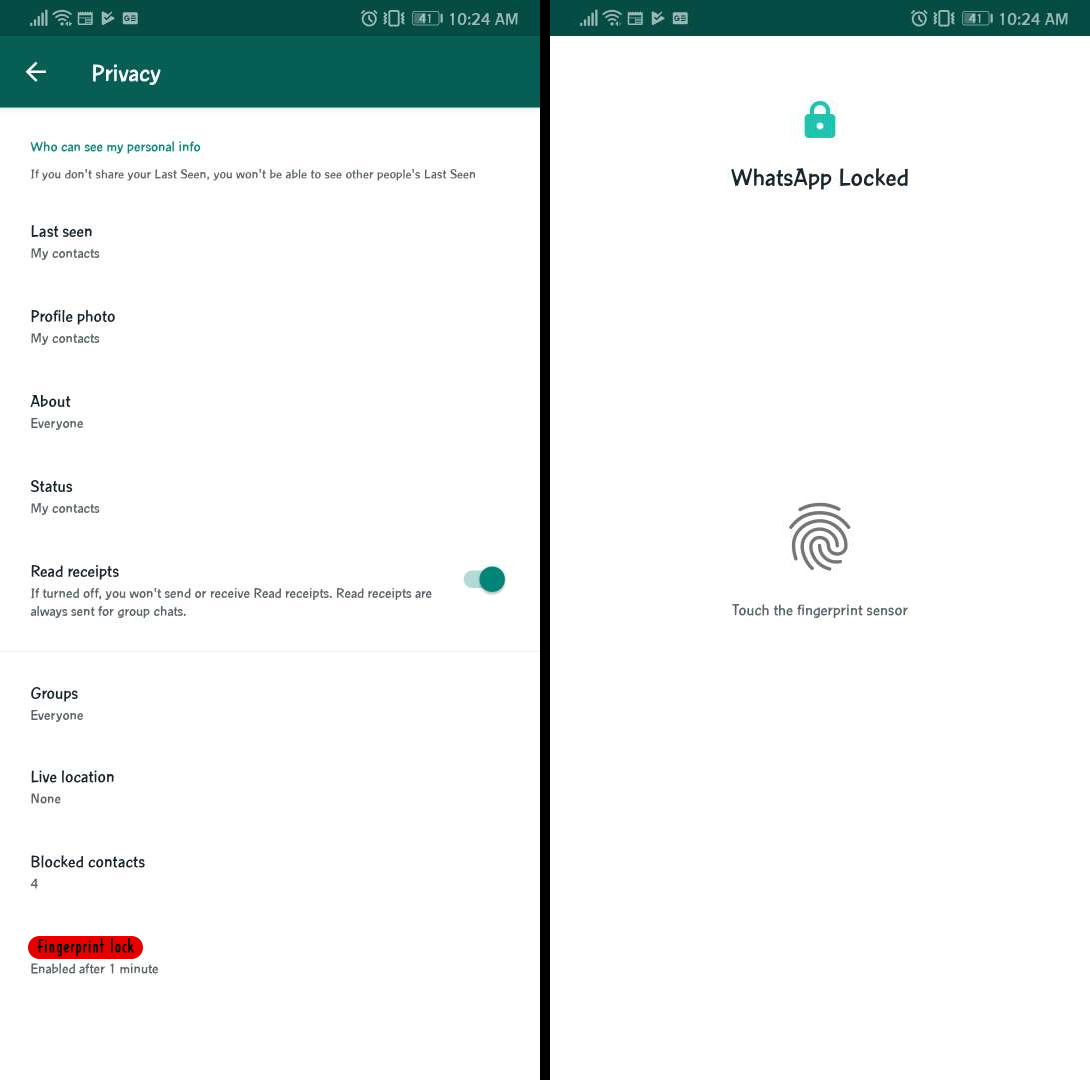 whatsapp finger print unlock