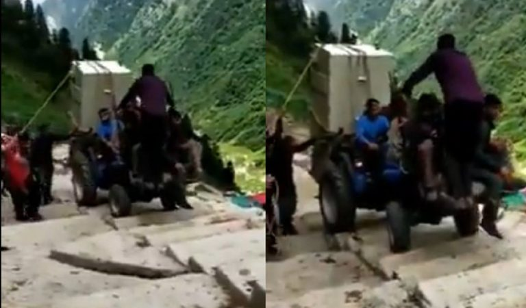 This Video Of A Tractor 'Climbing Stairs' At Kedarnath Is Viral And Scary AF